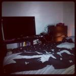 TV hörnan i sovrummet.