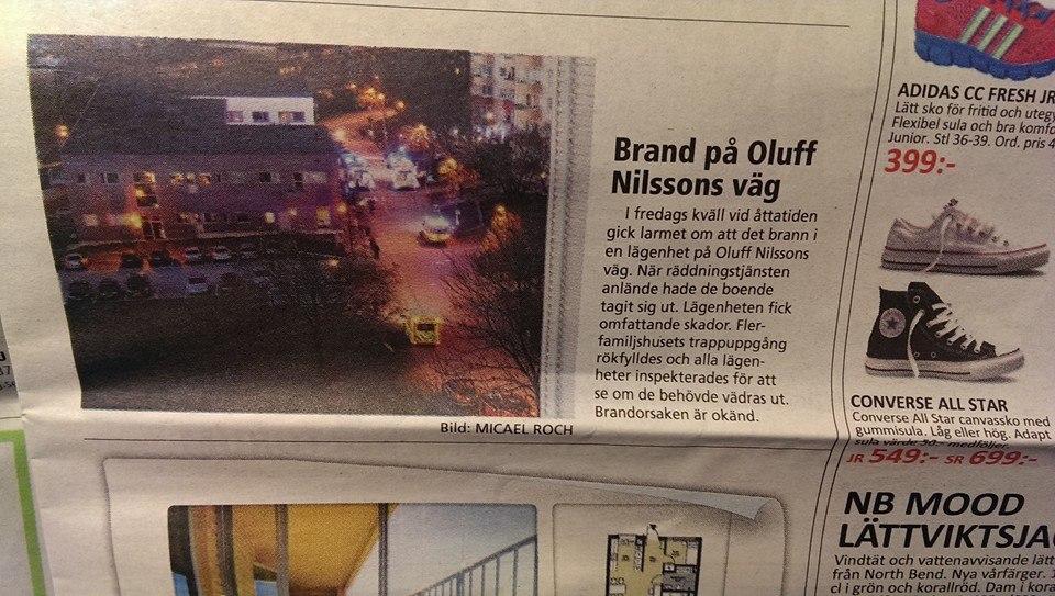 Partille tidning: notis om brand på Oluff Nilssonsväg i Partille. Foto: Micael Roch.