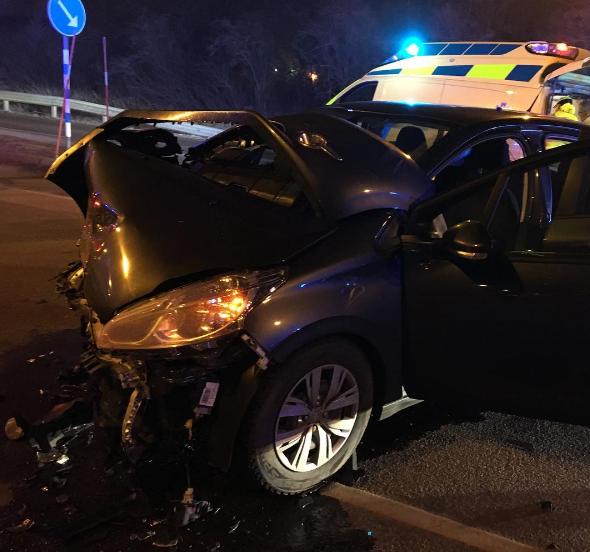 Bilen efter trafikolyckan.